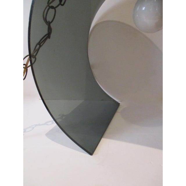 mcm atomic retro smoked lucite acrylic hanging swag light lamp