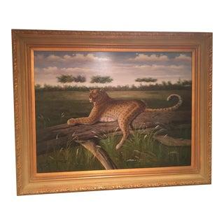 """G Hansh """"Leopard"""" Oil Painting For Sale"""