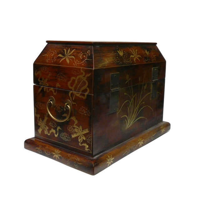Chinese Light Brown Lacquer Golden Dragons Box - Image 4 of 5