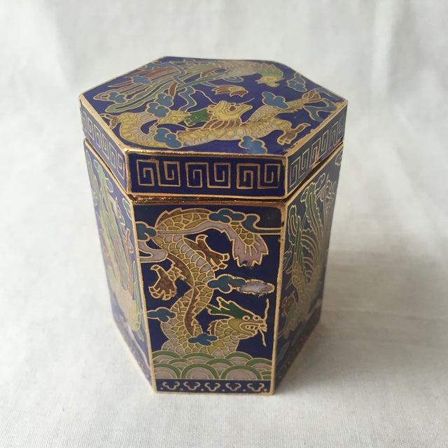 Vintage Cloisonné Hexagon Box - Image 2 of 5
