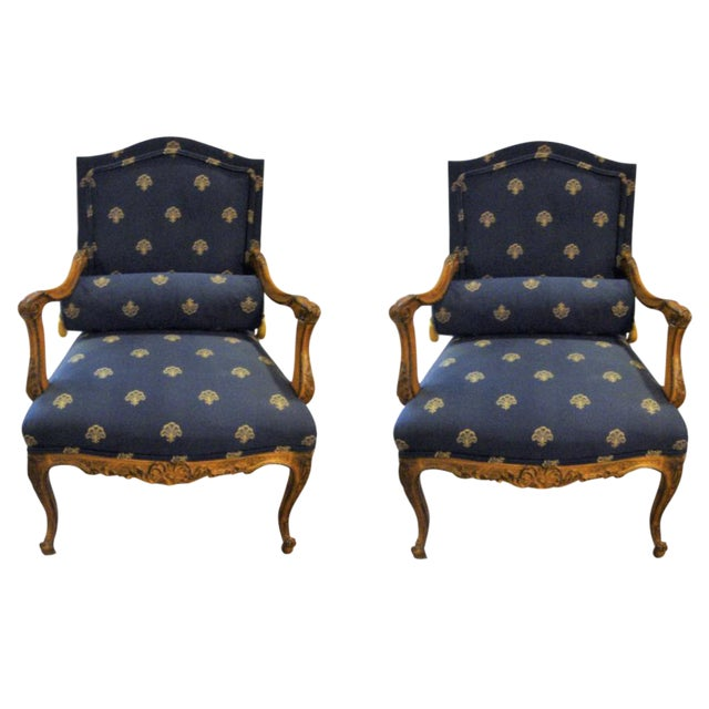 Custom Louis XV Style Arm Chairs- A Pair - Image 1 of 8