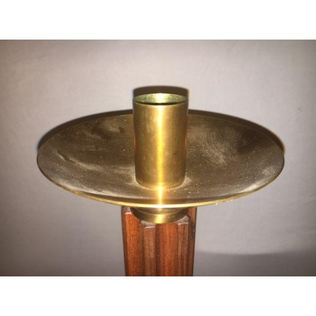 Teak and Brass Standing Prickets - Pair - Image 2 of 6