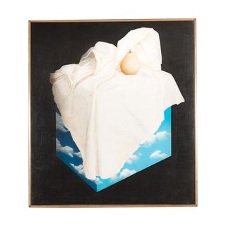 """Magritte Style """"Pear on a Cube of Clouds"""" Painting"""