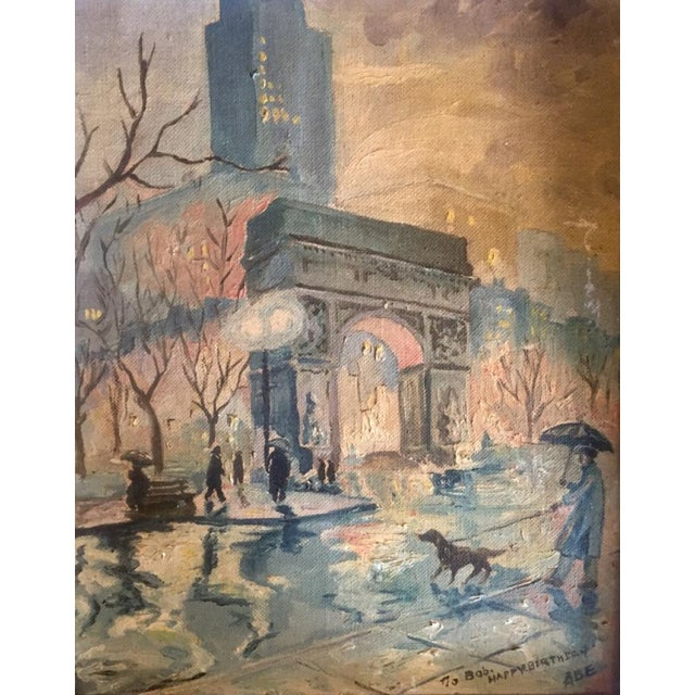 Modern Mid 20th Century Landscape Painting of Washington Square Park in the Rain For Sale - Image 3 of 6