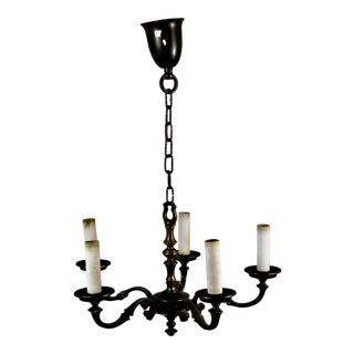 Antique French Dark Bronze Five-Light S-Shaped Arms Chandelier For Sale