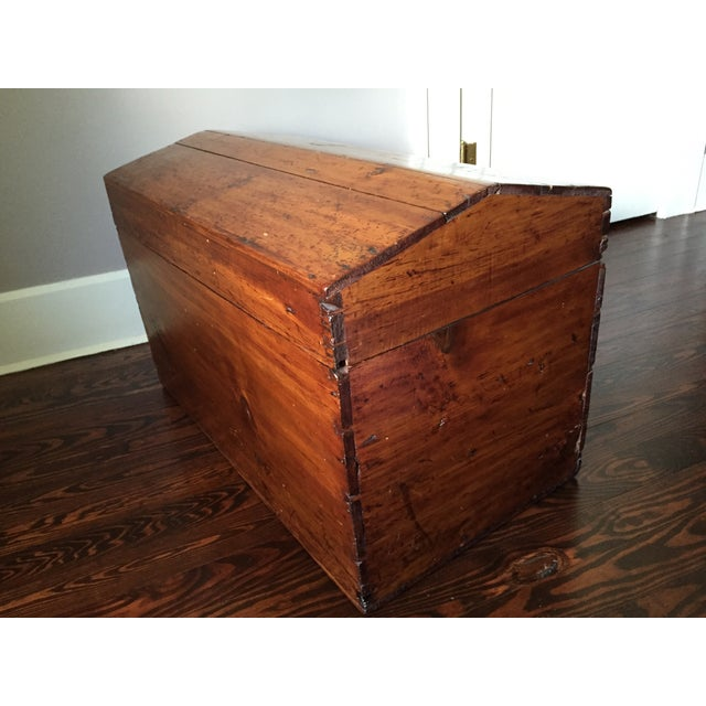 19th-C. Peaked Top Pine Trunk - Image 2 of 6