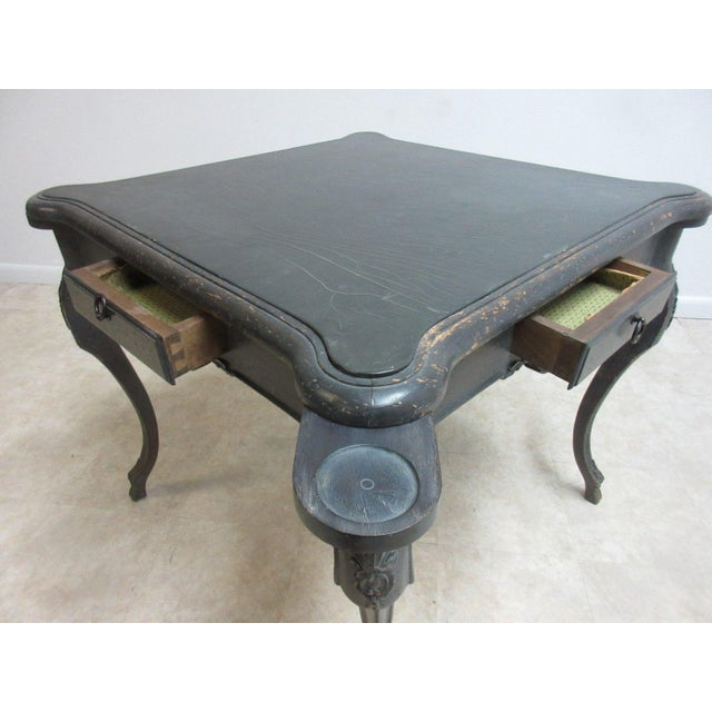 Black Antique Italian Regency Carved Leather Top Game Table For Sale - Image 8 of 9