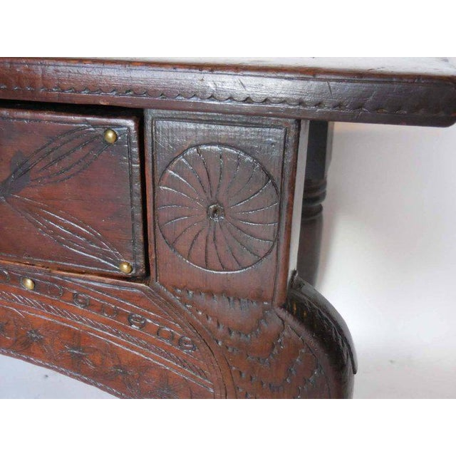 Wood Spanish Colonial Carved Table For Sale - Image 7 of 11