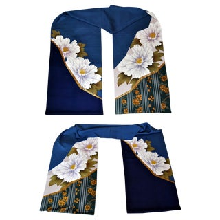 Japanese Kimono Silk Floral for Hanoyome Noren Curtains - a Pair For Sale