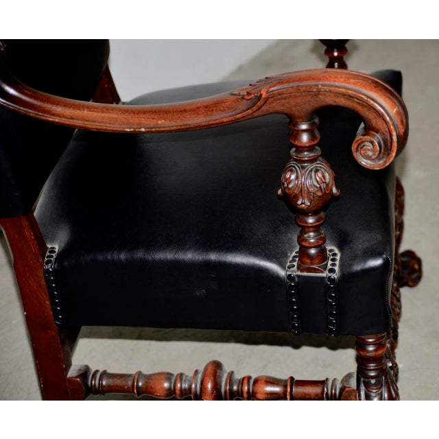 Late 19th Century 19th Century Jacobean Walnut Hand Carved Arm Chair W/ Leather Upholstery For Sale - Image 5 of 9