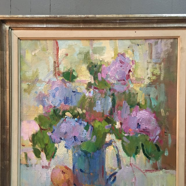 """""""Lilacs in a Blue Jug"""" Painting by Kanya Bugreyev For Sale - Image 4 of 11"""