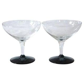 Vintage Smoke Gray Stem Glasses - A Pair
