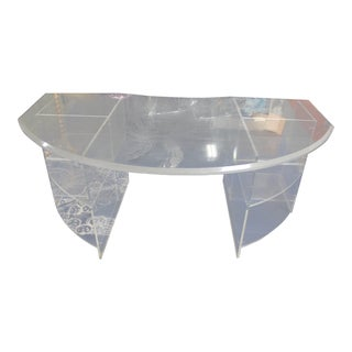 Demi-Lune Large Acrylic Lusite Desk For Sale