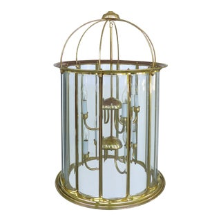 Beveled Glass & Brass Lantern Chandelier For Sale