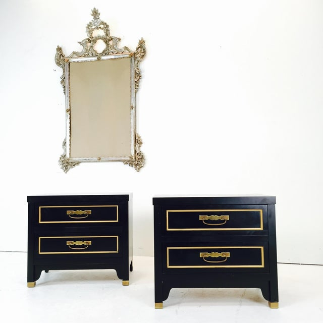 Black Regency Style Nightstands - Pair - Image 3 of 3