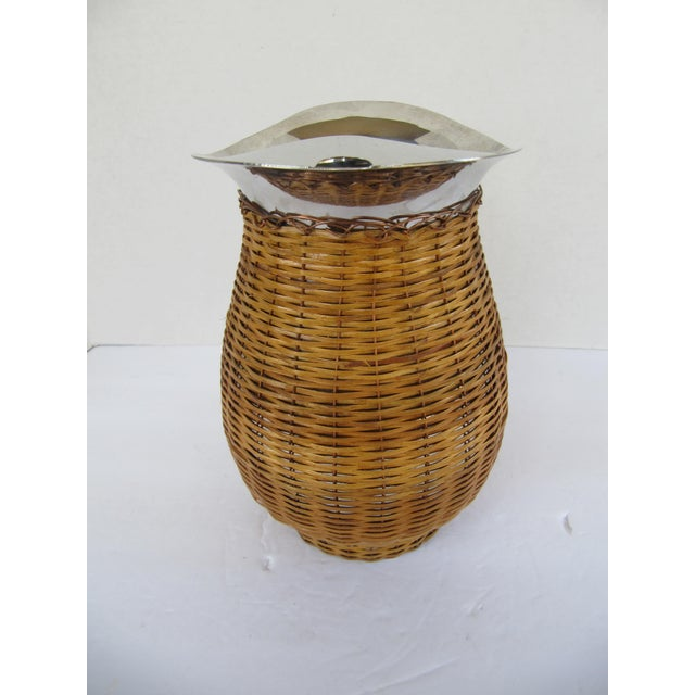 Vintage Water Pitcher Wrapped in Wicker For Sale - Image 4 of 6