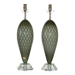 Vintage Murano Glass Table Lamps Gray For Sale