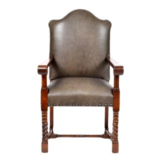 19th Century Vintage Oak Leather Upholstery Rustic Renaissance Revival Style Arm Chair For Sale