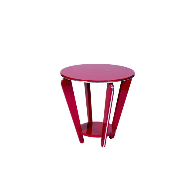 Art Deco Style Side Table in Crimson Lacquer For Sale