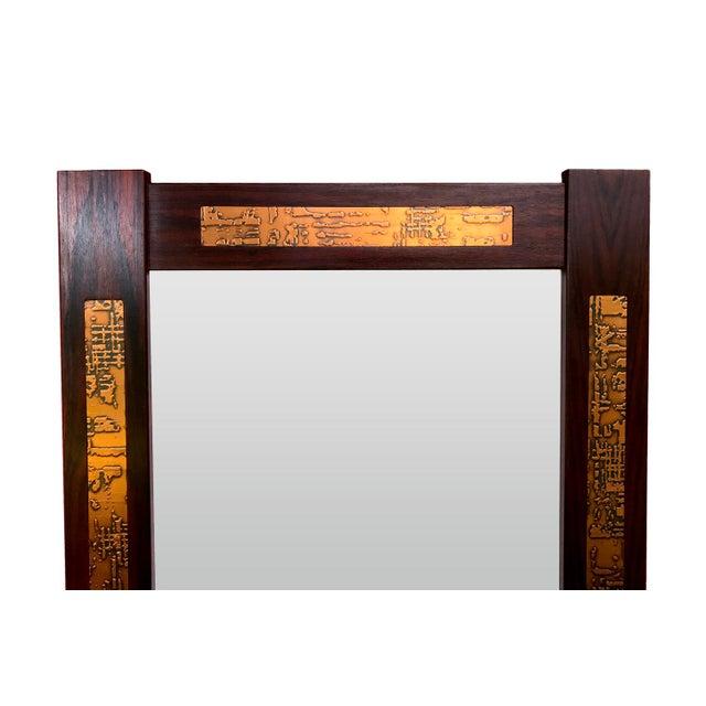 Danish Mid-Century Teak Mirror with Copper Inlays - Image 3 of 4