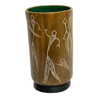 Midcentury Incised Tree Bark Vase For Sale