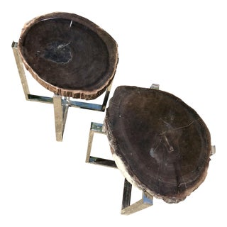 Petrified Wood and Chrome Side Tables-A Pair For Sale