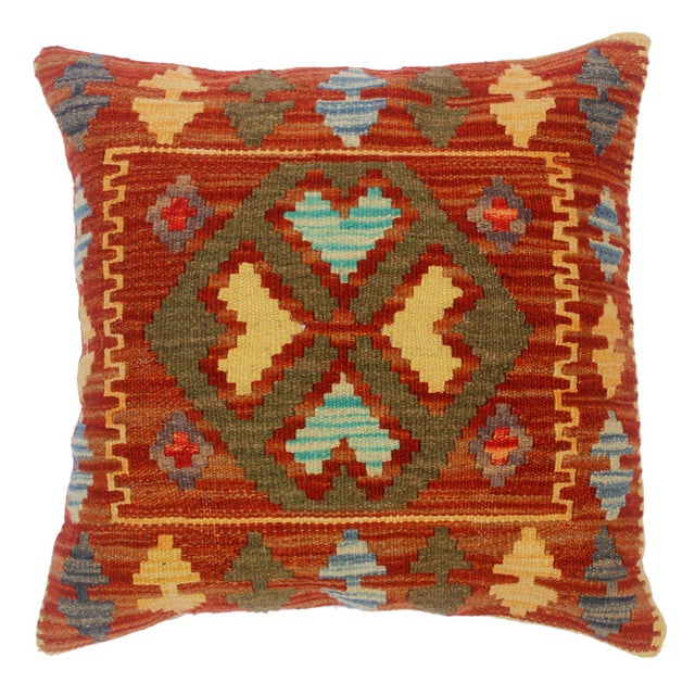 "Chi Rust/Gold Hand-Woven Kilim Throw Pillow(18""x18"") For Sale In New York - Image 6 of 6"