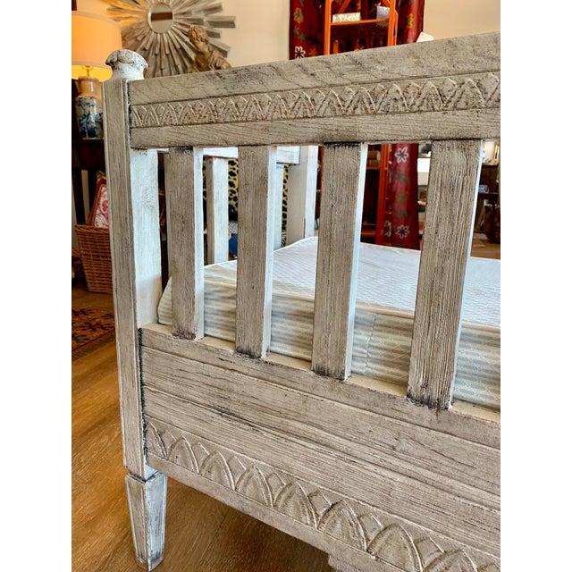 Wood Scandinavian Tartan Cushion and Aqua Slipcover for Summer Bench For Sale - Image 7 of 11