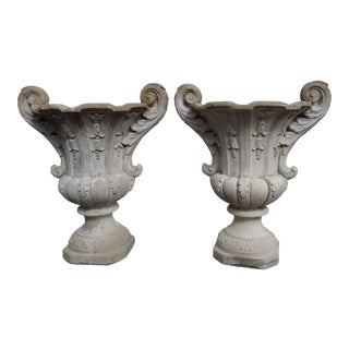 Early 20th Century Vintage Cast Cement Garden Planters- a Pair For Sale