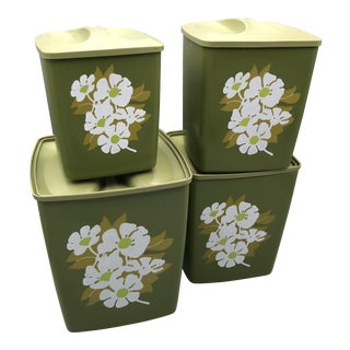 Vintage 70's Avocado Green With Floral Design Kitchen Canisters - Set of 4 For Sale