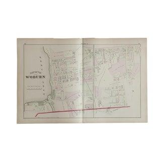 Antique Woburn Massachusetts Atlas Map Plate A