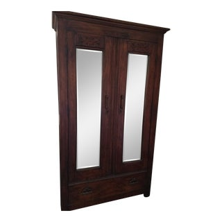 1990s Traditional Carved Armoire Mirrored Front For Sale