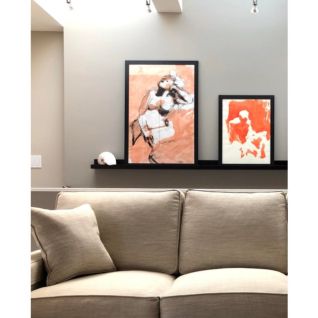 """Charcoal Contemporary Figure Drawing in Orange and Black, """"Gloria Gesture in Orange"""" by David O. Smith For Sale - Image 7 of 12"""
