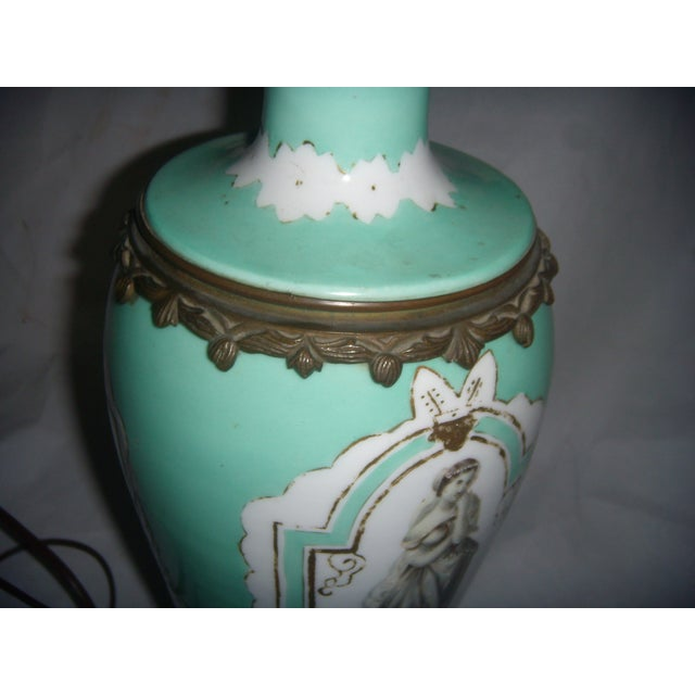 Neoclassical Teal Porcelain & Brass Lamp - Image 10 of 11