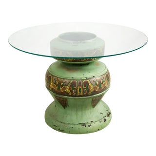 Tibetan Brass Cloisonne With Glass Top Urn Accent Table For Sale