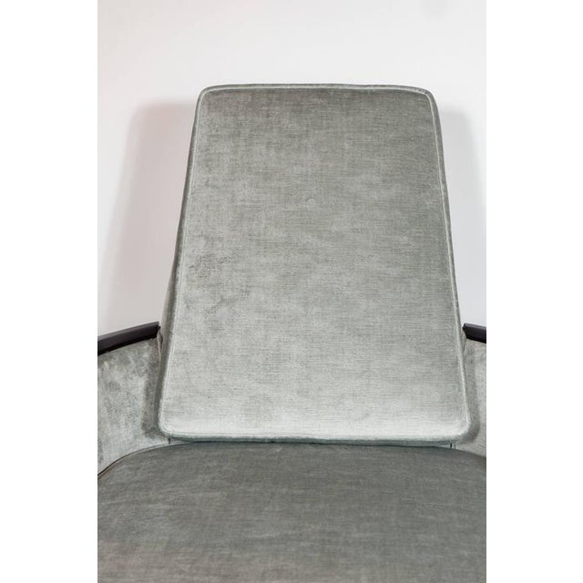 Pair of Mid-Century Armchairs in Smoked Platinum Velvet and Ebonized Walnut For Sale In New York - Image 6 of 9