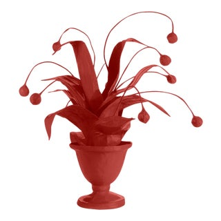 Stray Dog Designs for Chairish Crunchberry Faux Plant, Deep Red For Sale
