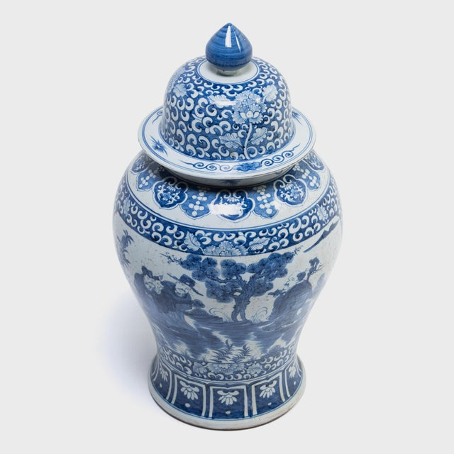 Early 21st Century Blue and White Ginger Jar With Landscape Portraits For Sale - Image 5 of 7