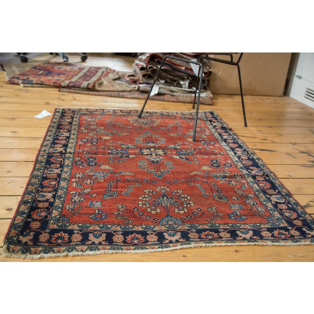 "Antique Manchester Kashan Square Rug - 3'4"" X 4'6"" - Image 4 of 8"