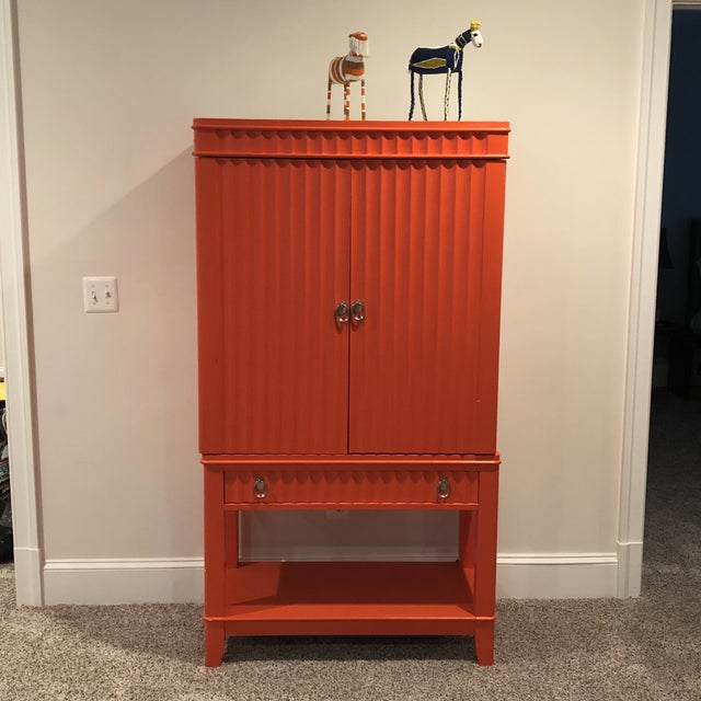 Art Deco Orange Painted Bar Cabinet For Sale - Image 4 of 13