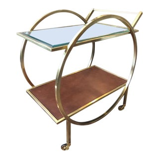 Modern Brass Bar Cart With Leather Insert and Glass Top For Sale