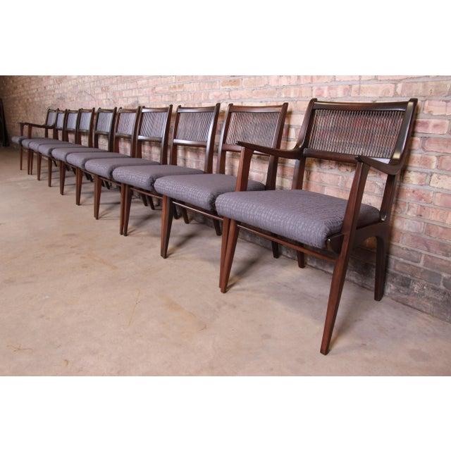 John Van Koert Mid-Century Modern Restored Walnut Dining Chairs, Set of Ten For Sale - Image 13 of 13