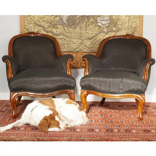 Pair of French Period Louis Philippe Walnut Armchairs Bergeres, 1840 Preview