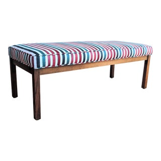 Jewel Tone Upholstered Bench Striped For Sale