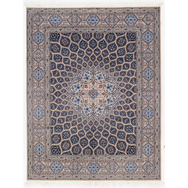 "2010s Pasargad Vintage Persian Nain Silk & Wool Rug - 6'9"" X 8'8"" For Sale - Image 5 of 5"