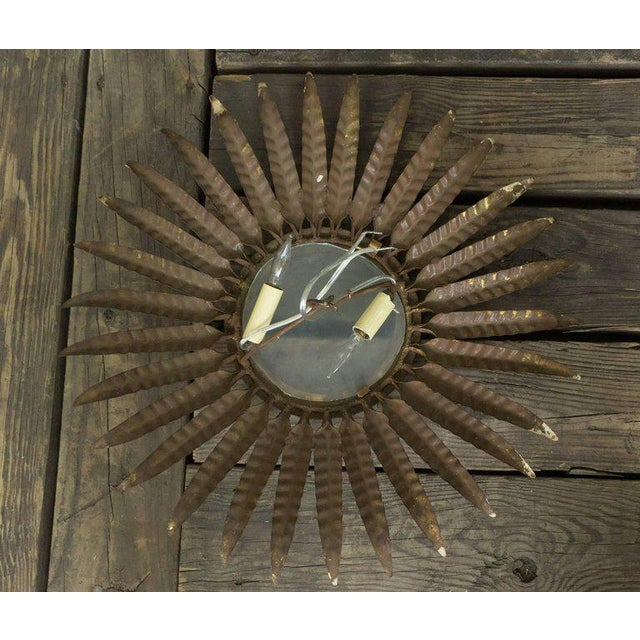 Glass Spanish Gilt Metal Sunburst Ceiling Fixture With Leaf Decoration For Sale - Image 7 of 8
