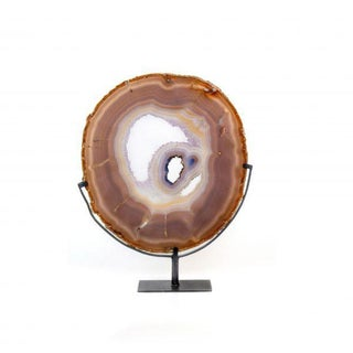 Brazilian Agate Slice on Metal Base For Sale