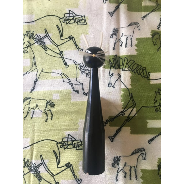Wood Mid-Century Modern Wooden Black Cat Clothes Brush For Sale - Image 7 of 8