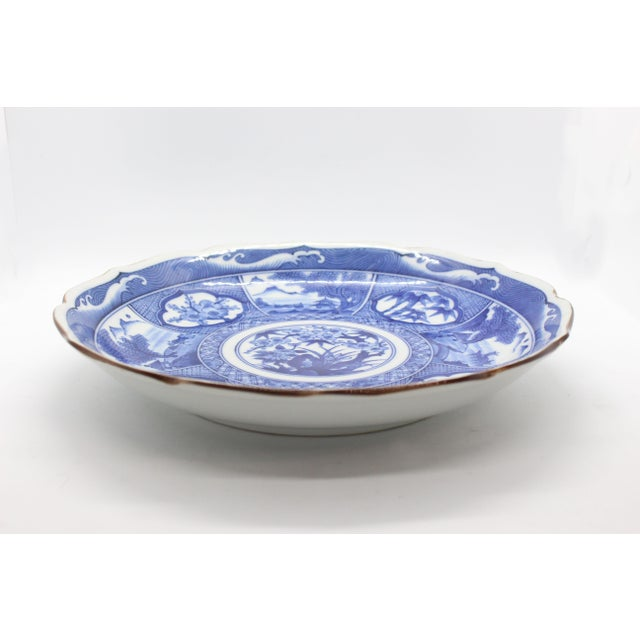 Japanese Pictorial Blue & White Imari Painted Decorative Plate, Artist Signed For Sale - Image 4 of 8