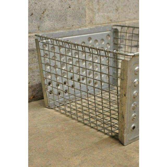 Industrial Vintage Kaspar Industrial Wire Works Metal Perforated Storage Gym Locker Basket For Sale - Image 3 of 12